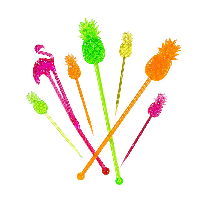 Talking Tables Tropical Fiesta, Pineapple and Flamingo Stirrer and Party Picks, 24 pack