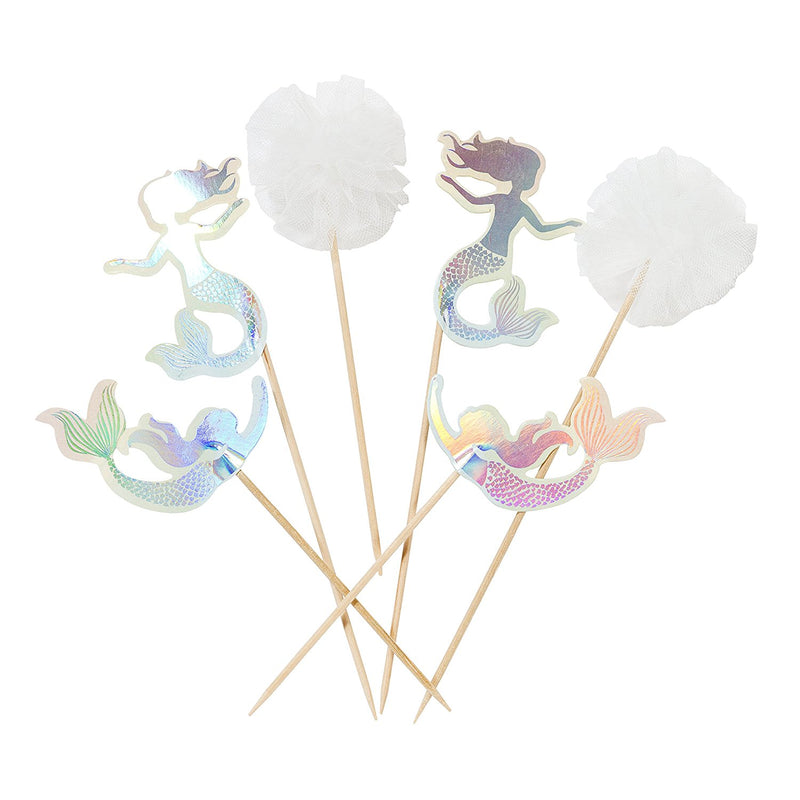 Talking Tables We Heart Mermaid, Cake Toppers, Paper and Pom Poms, (12 pack)