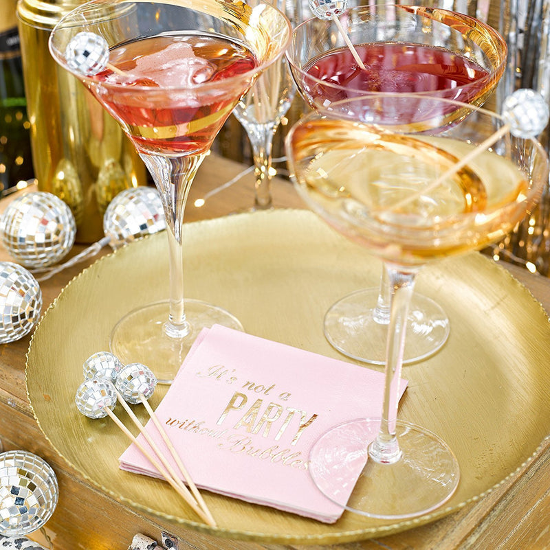 Talking Tables Glitterati Cocktail Paper Table Napkins, Pink/Gold