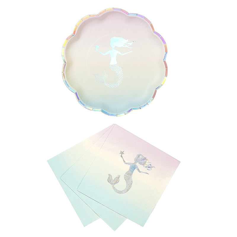 Talking Tables We Heart Mermaids Party Bundle For Theme Birthdays, Bridal Showers, Parties | Paper Plates & Luncheon Napkins