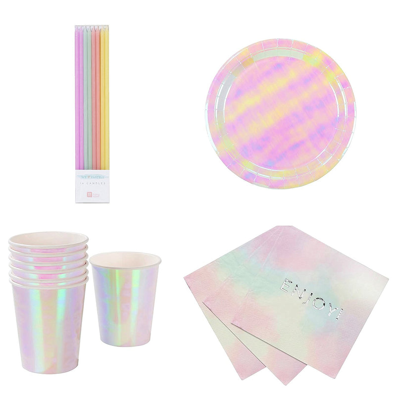 6 Designs 24 Pack Multicolor Talking Tables We Heart Pastel Small Multi Pastel Color Hexagonal Matte Paper Plates for a Birthday Party or Celebration
