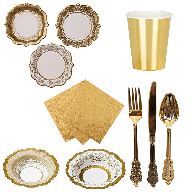 Talking Tables Porcelain Gold Partyware Bundle for Weddings, Anniversaries, New Year's Parties, Stylish Buffets | Paper Plates, Bowls, Cups, Napkins & Cutlery