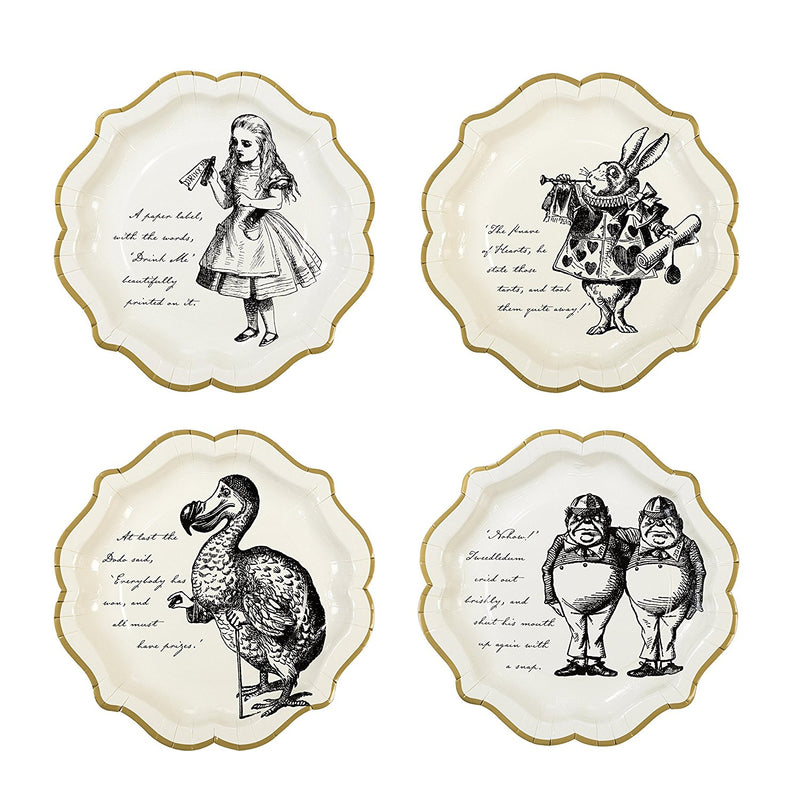 "Talking Tables Truly Alice 9"" Alice in Wonderland Mad Hatter Party Paper Plates with Gold Trim for a Tea Party or Birthday, Cream/Gold"