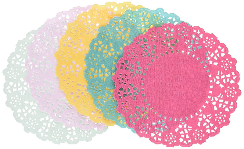 Talking Tables Floral Fiesta Paper Doilies for a Tea Party, Birthday or Luau Party, 5 Colors