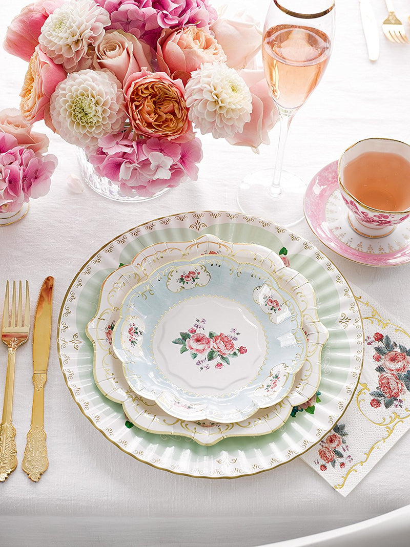 Talking Tables Truly Chintz Vintage Floral Party Bundle for a Garden Tea Party, Bridal Shower & Picnics | Paper Table Cover, Paper Plates, Napkins & Bunting
