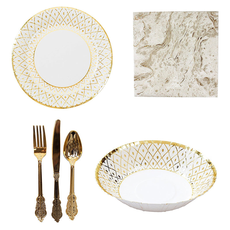 Talking Tables Porcelain Gold Partyware Collection for Weddings, Anniversaries, Stylish Buffets & Parties | Paper Plates, Bowls, Napkins & Cutlery