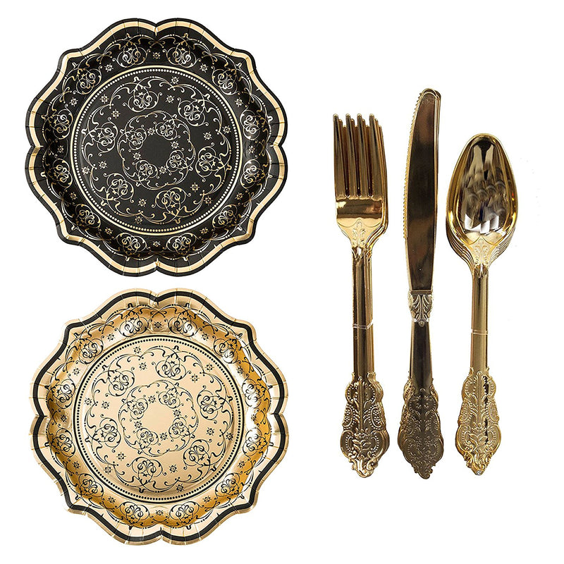 Talking Tables Porcelain Baroque Masquerade Party Bundle | Designer Foiled Party Plates & Disposable Party Cutlery Set, Gold