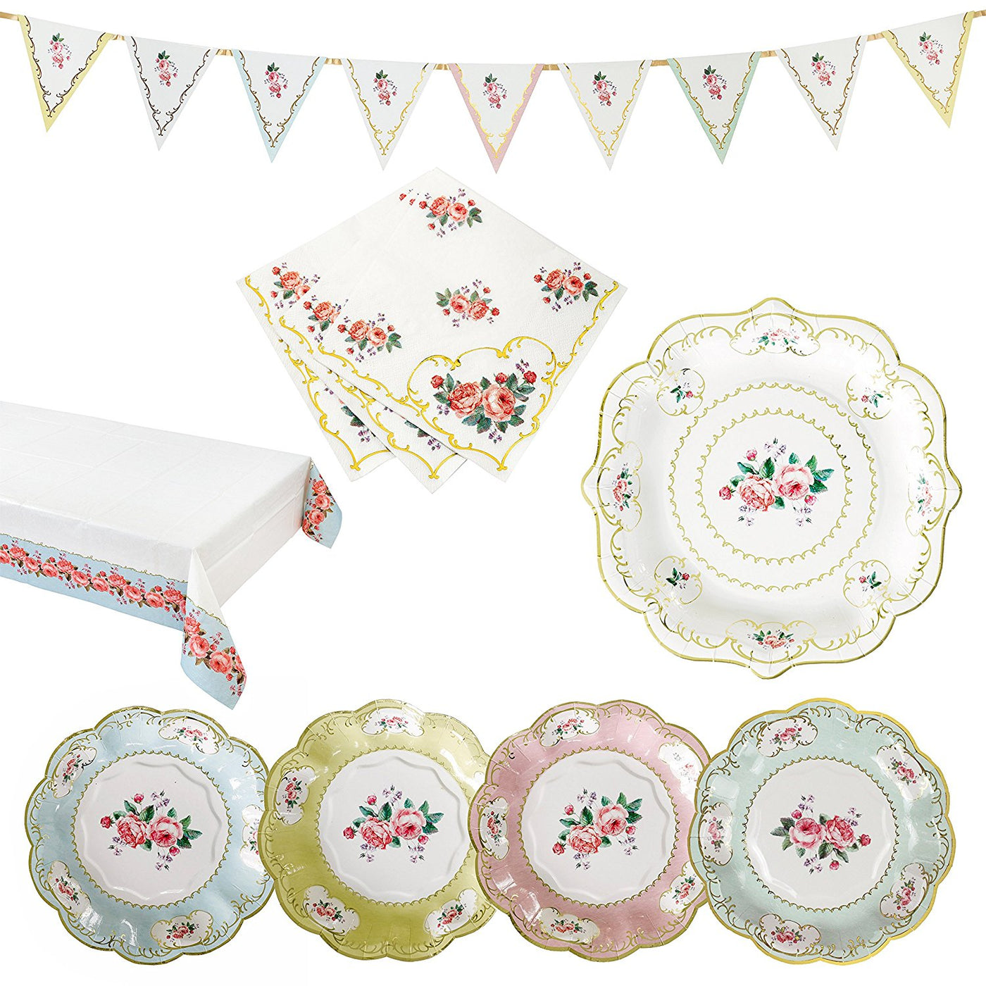 Talking Tables Truly Chintz Vintage Floral Party Bundle for a Garden ...