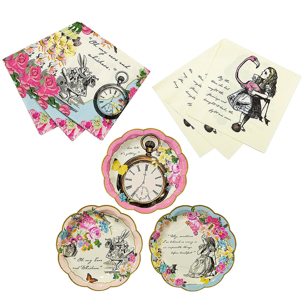 Talking Tables Alice In Wonderland Bundle for Parties/Weddings | Designer Mad Hatter Tea Party Plates & Alice Luncheon and Cocktail Napkins