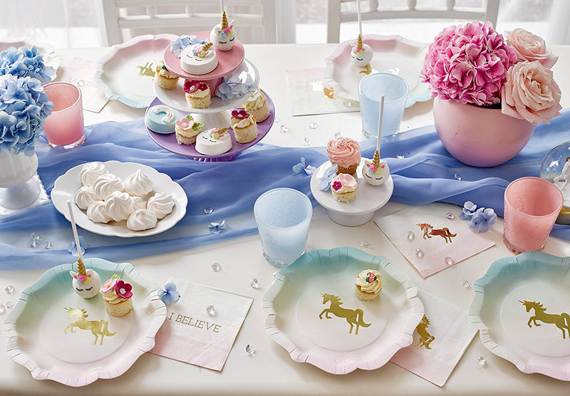 Talking Tables We Heart Unicorns & Pastel Theme Party Bundle for a Children's Party or Birthday | Paper Plates, Napkins, Cups, Table Cover & Garland