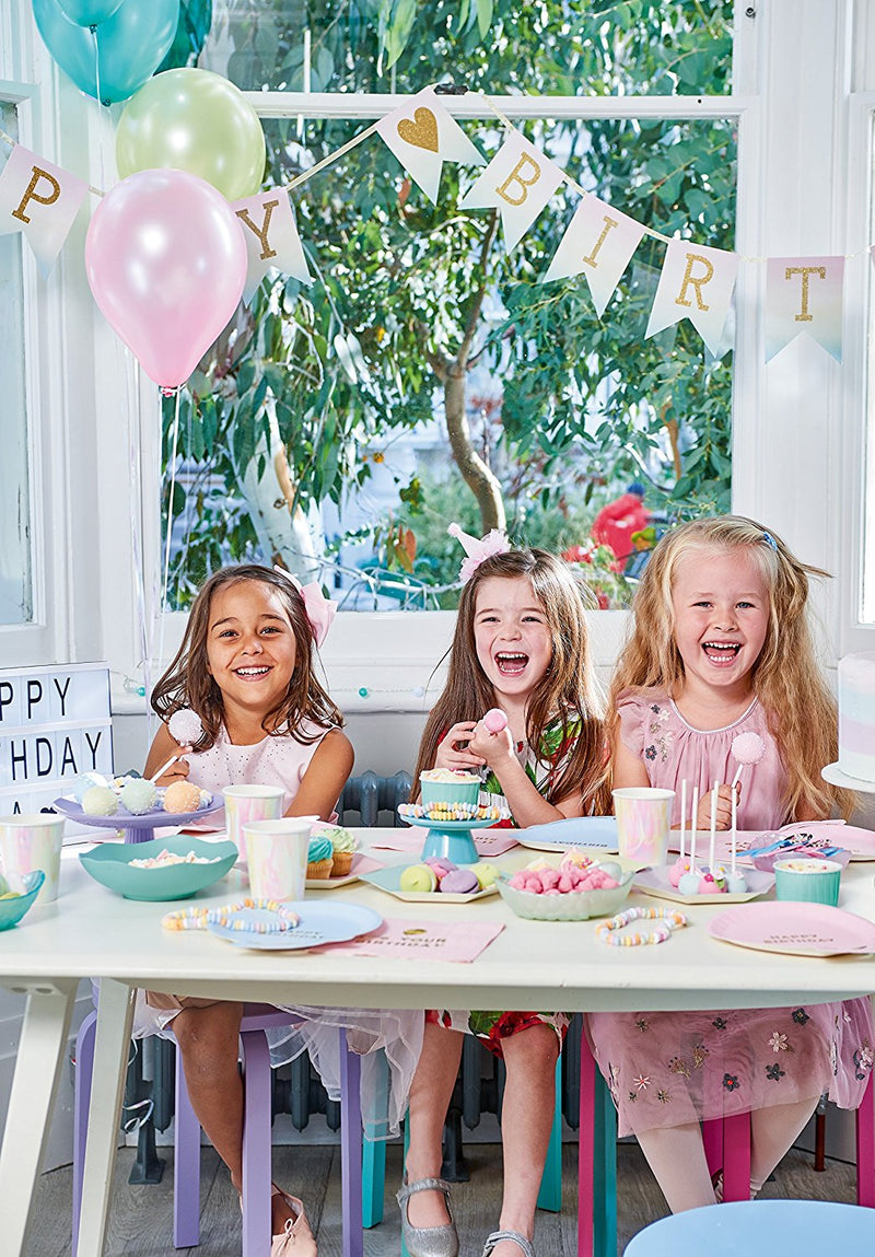 Talking Tables We Heart Birthdays Party Bundle For 1st Birthday Girl | Balloon Shaped Plates, Napkins, Balloon & Candle