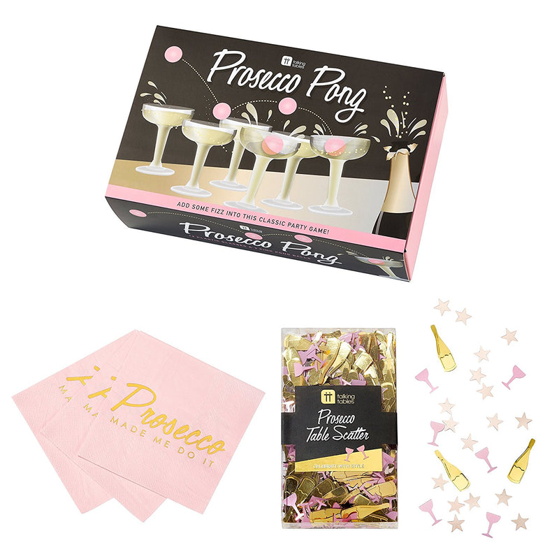 Talking Tables Prosecco Party Bundle for Birthdays, Celebrations, Brunches & Parties | Champagne Glasses & Ping Pong Balls, Cocktail Napkins & Table Confetti