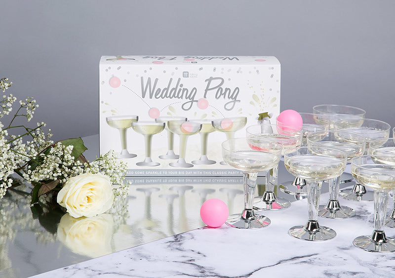 Talking Tables Wedding Pong Bridal Party Bundle, Baby Showers, Drinking Games & Celebrations | Prosecco Glasses & Ping Pong Balls, Cocktail Napkins & Table Scatter