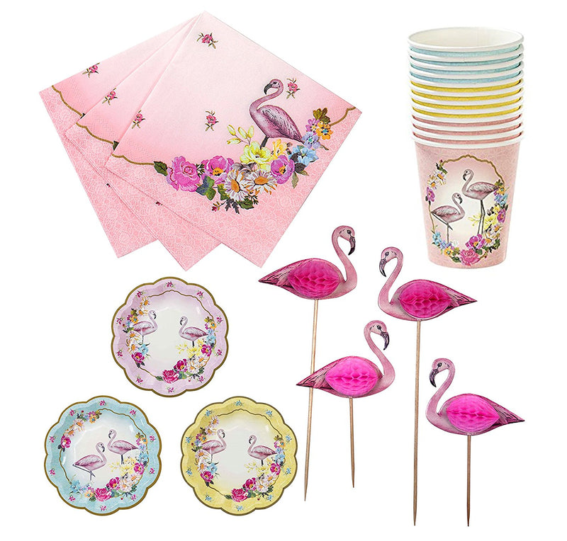 Talking Tables Truly Flamingo Party Bundle | Designer Plates, Napkins, and Canape Picks