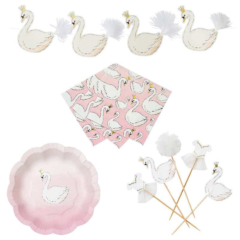 Talking Tables We Heart Swans Party Bundle for Birthdays, Celebrations & Parties | Paper Plates, Cocktail Napkins, Cake Toppers & Garland