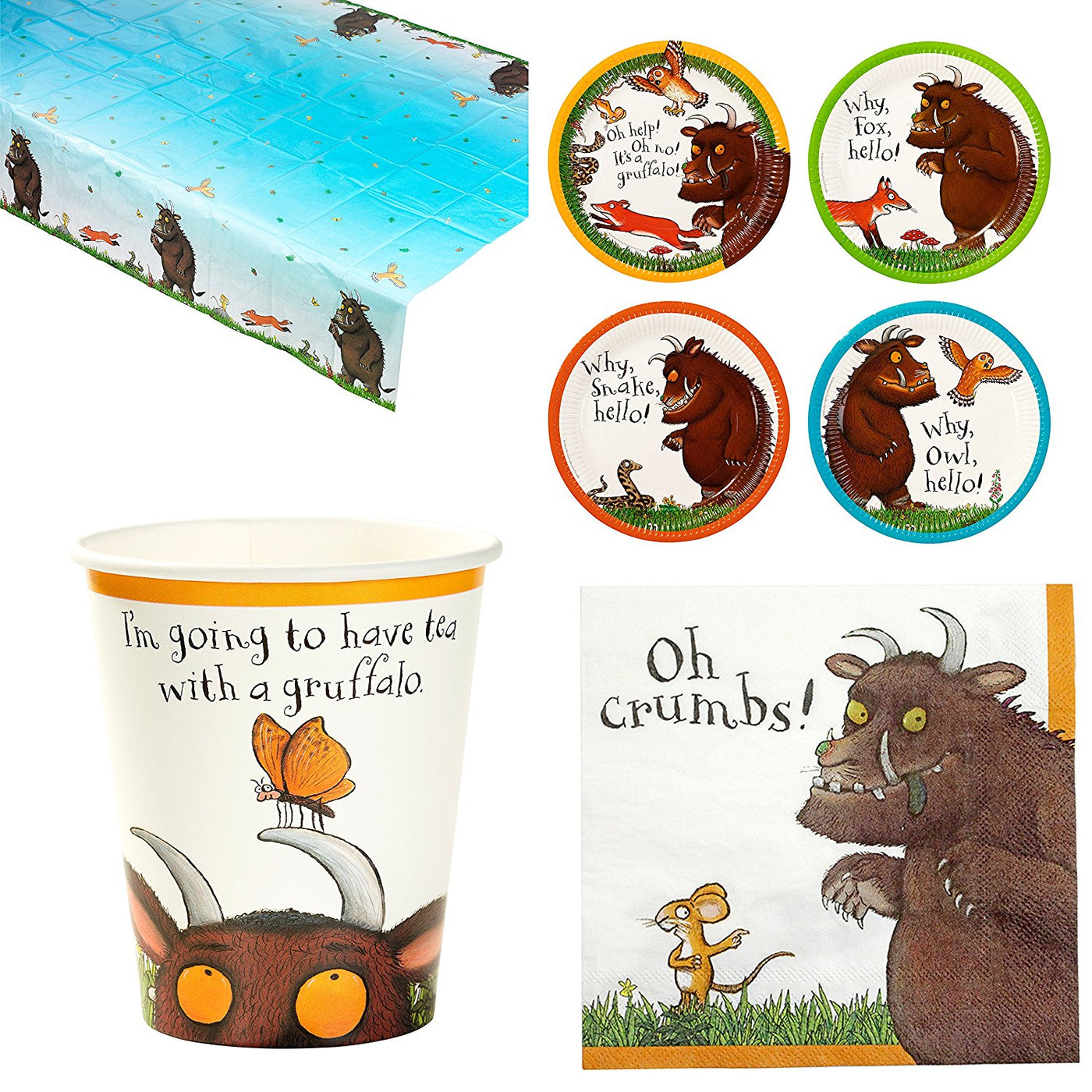 Boys Girls Toddler Birthday Party Paper Tableware Cups The Gruffalo Book Film