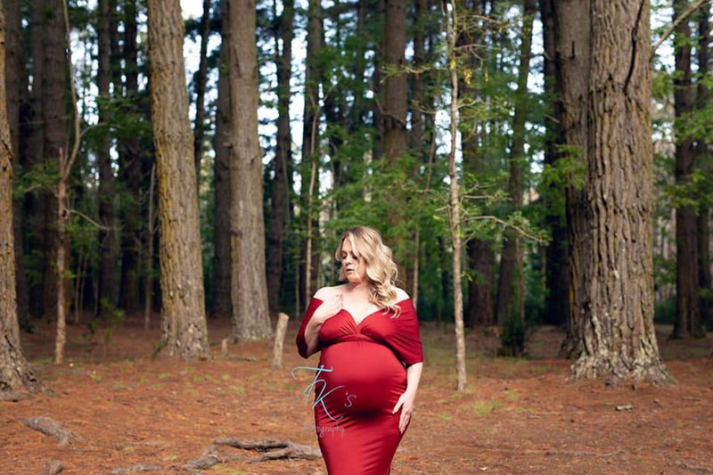 ~ Christie ~ Fishtail Skirt Multiway Maternity Gown in Burgundy