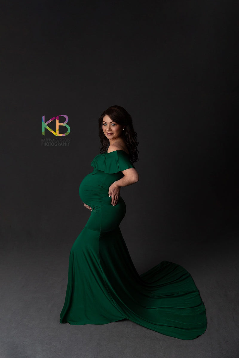 ~ Alli ~ Off-the-Shoulder Maternity Gown in Hunter Green