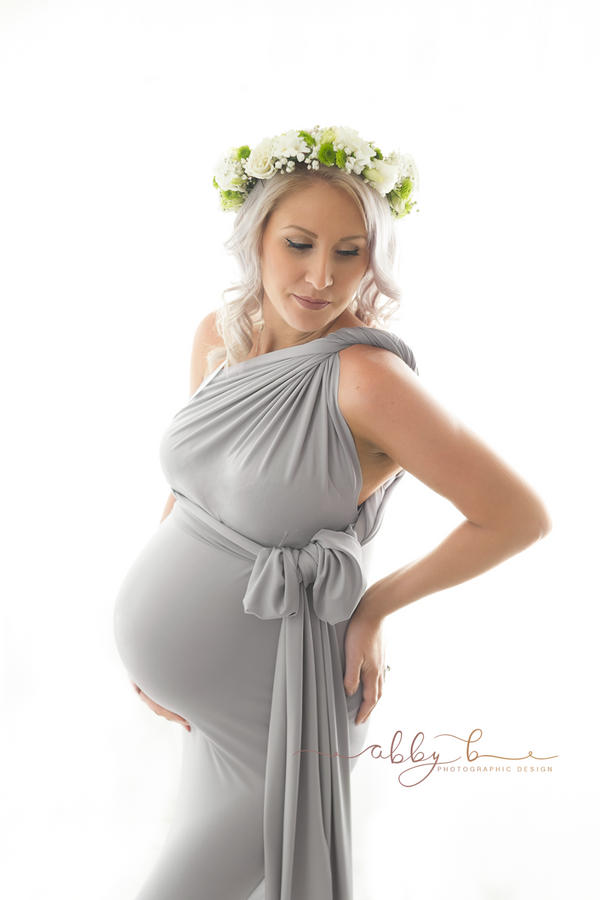 ~ Christie ~ Fishtail Skirt Multiway Maternity Gown in Light Grey