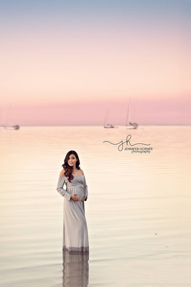 ~ Evie ~ Long Sleeved Maternity Gown with Flowing Skirt in Light Grey