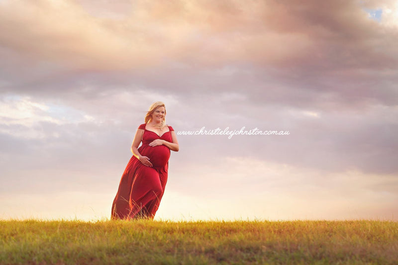~ Kelly ~ Flowing Skirt Multiway Maternity Gown in Burgundy