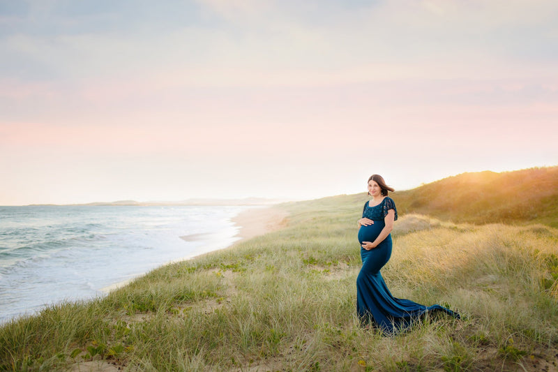 ~ Rose ~ Lace Off-the-Shoulder Maternity Gown in Navy