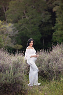~ Camila ~ Boho Sleeve Lace Maternity Gown in White