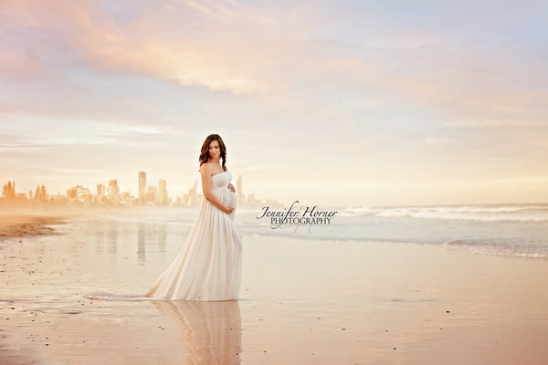 ~ Emily ~ Strapless gown with semi sheer skirt and train in Off-White