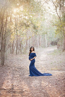 ~ Alli ~ Off-the-Shoulder Maternity Gown in Navy