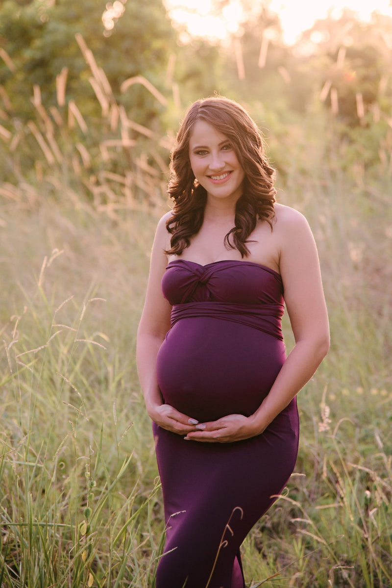 ~ Christie ~ Fishtail Skirt Multiway Maternity Gown in Plum