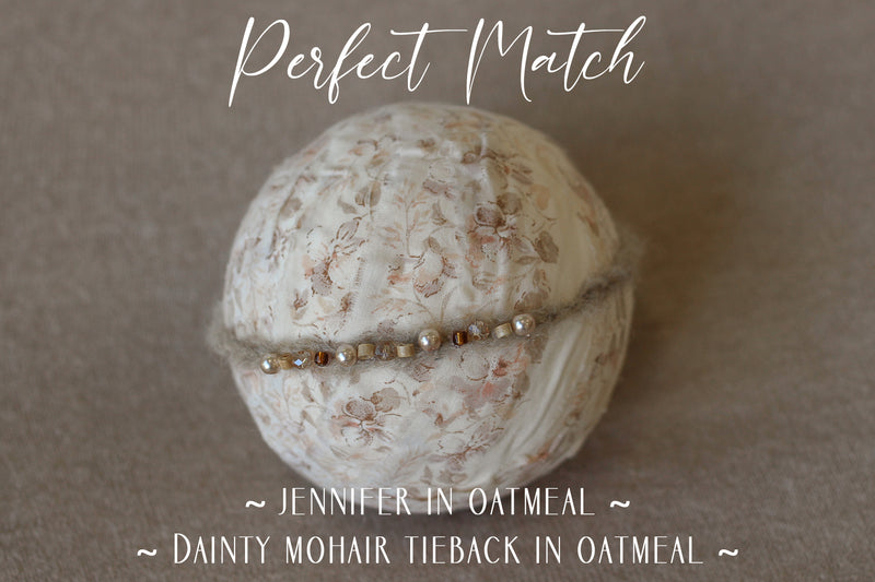 ~ Dainty beaded mohair tieback  ~ in oatmeal