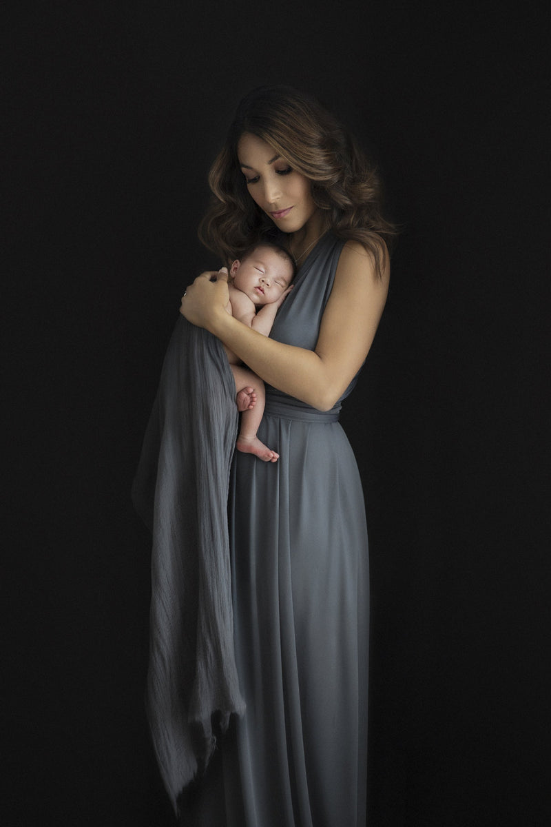 ~ Kelly ~ Flowing Skirt Multiway Maternity Gown in Charcoal