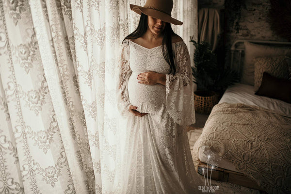 ~ Mae ~ Boho Flowing Lace Maternity Gown in White