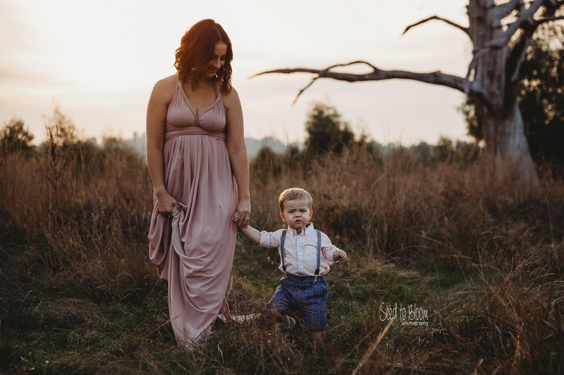 ~ Anna ~ Multiway Maternity Gown with Train in Dusty Pink