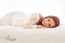 ~ Grace ~ Lace Sleeve Maternity Gown in White