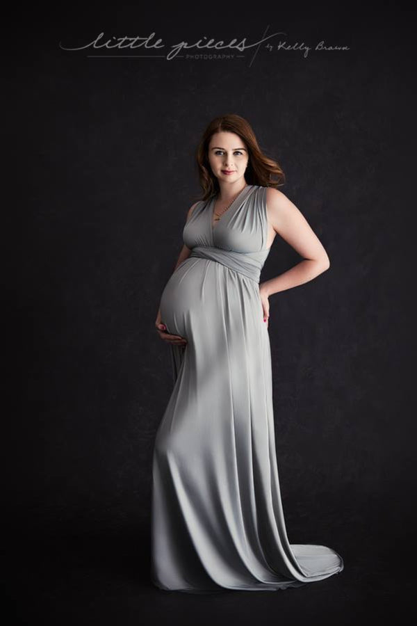 ~ Kelly ~ Flowing Skirt Multiway Maternity Gown in Light Grey
