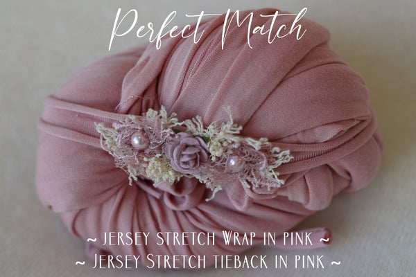 ~ Jersey Stretch Wrap & Tieback Set ~ in pink