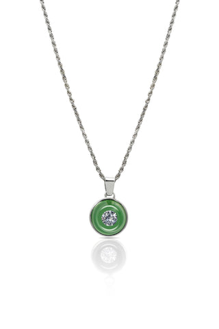 Emerald green necklace by Encased Diamonds (face-in view)