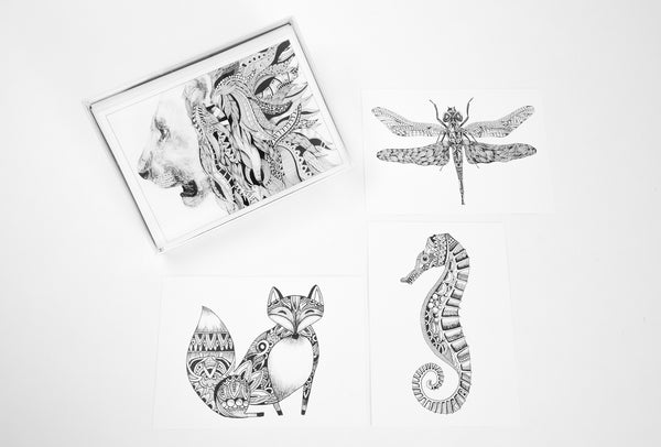Coloring Cards - Animal Designs