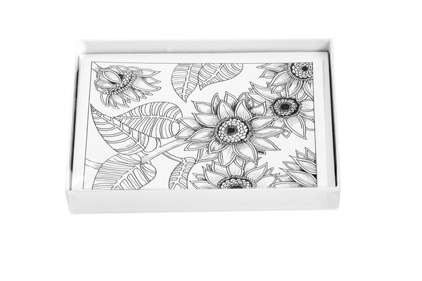 Coloring Cards - Flower Designs