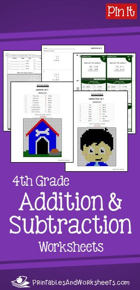 4th Grade Addition And Subtraction Worksheets