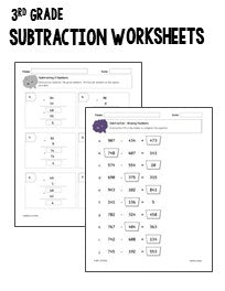 3rd Grade Subtraction Worksheets - Printables & Worksheets
