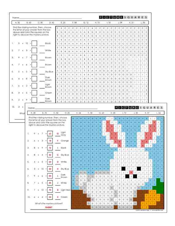 multiplication worksheets grade 3 - rabbit mystery picture