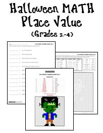Halloween Place Value Worksheets for Grades 2-4