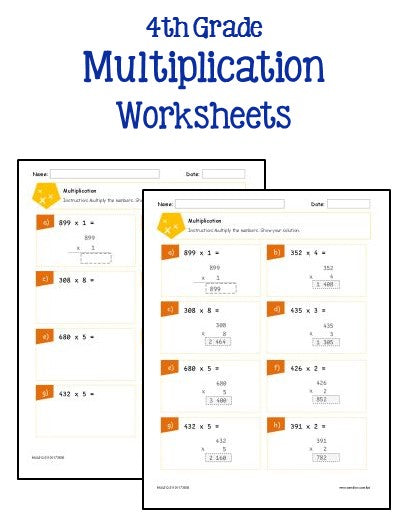 4th Grade Multiplication and Division Worksheets - Printables ...