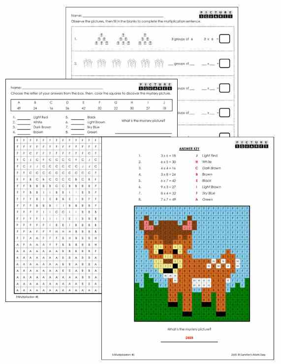 multiplication worksheets grade 3 - deer mystery picture