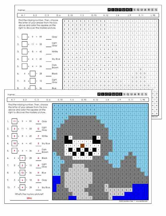 3rd Grade Multiplication Mystery Pictures Coloring Worksheets – Multiplication Hidden Picture Worksheet