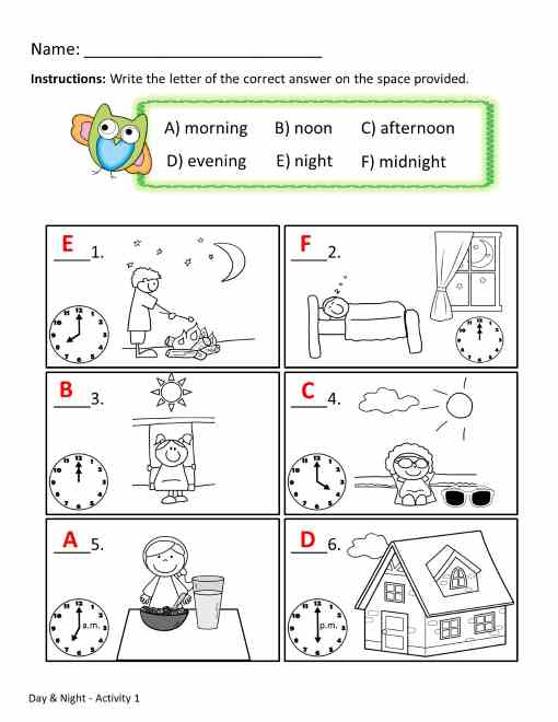 time worksheets - day and night activity
