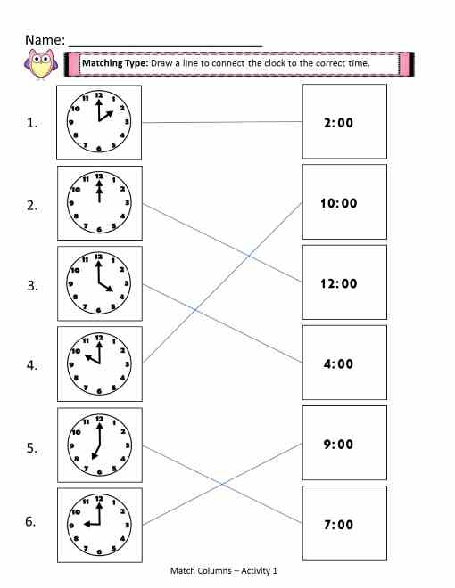 time worksheets - match the columns