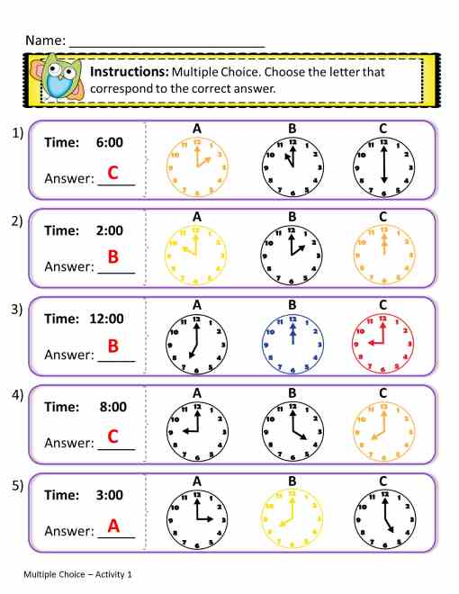 time worksheets - choose the right image